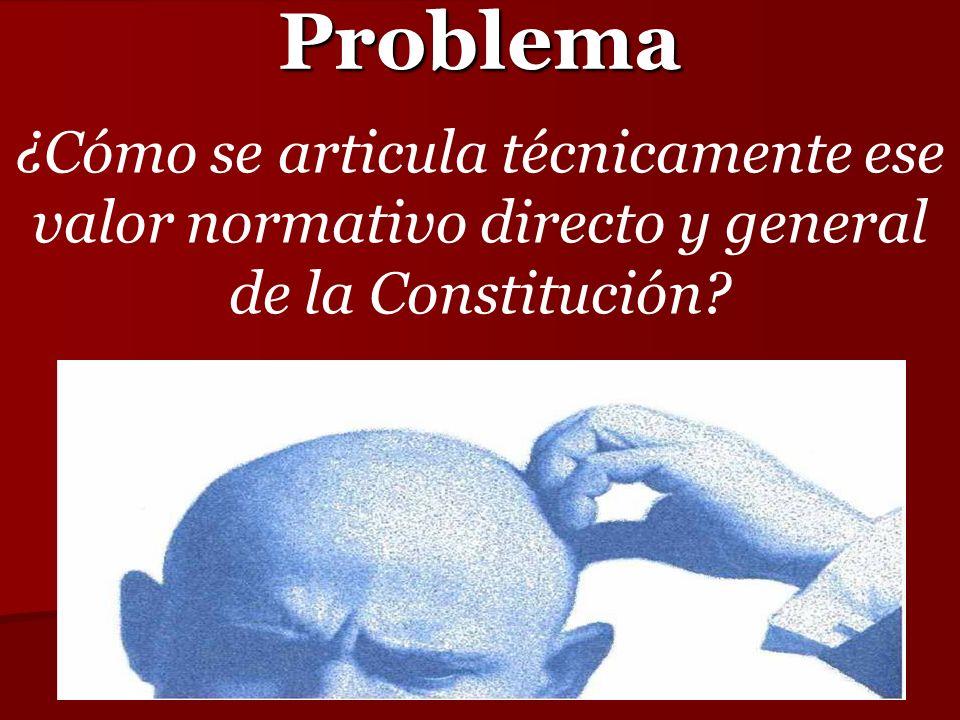 Problema ¿Cómo se articula técnicamente ese valor normativo directo y general de la Constitución