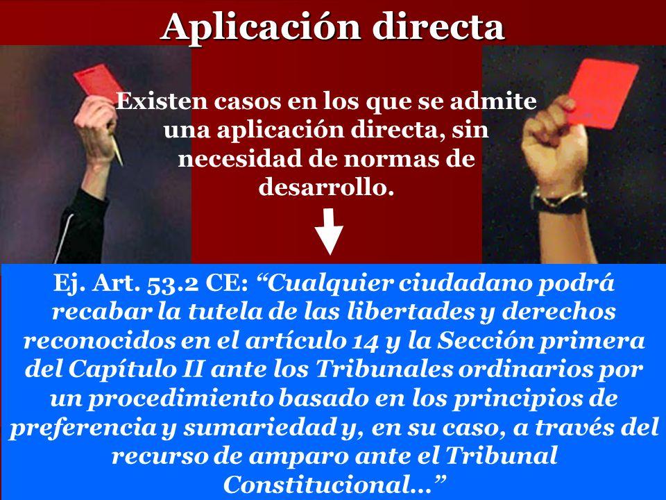 Aplicación directa Existen casos en los que se admite una aplicación directa, sin necesidad de normas de desarrollo.