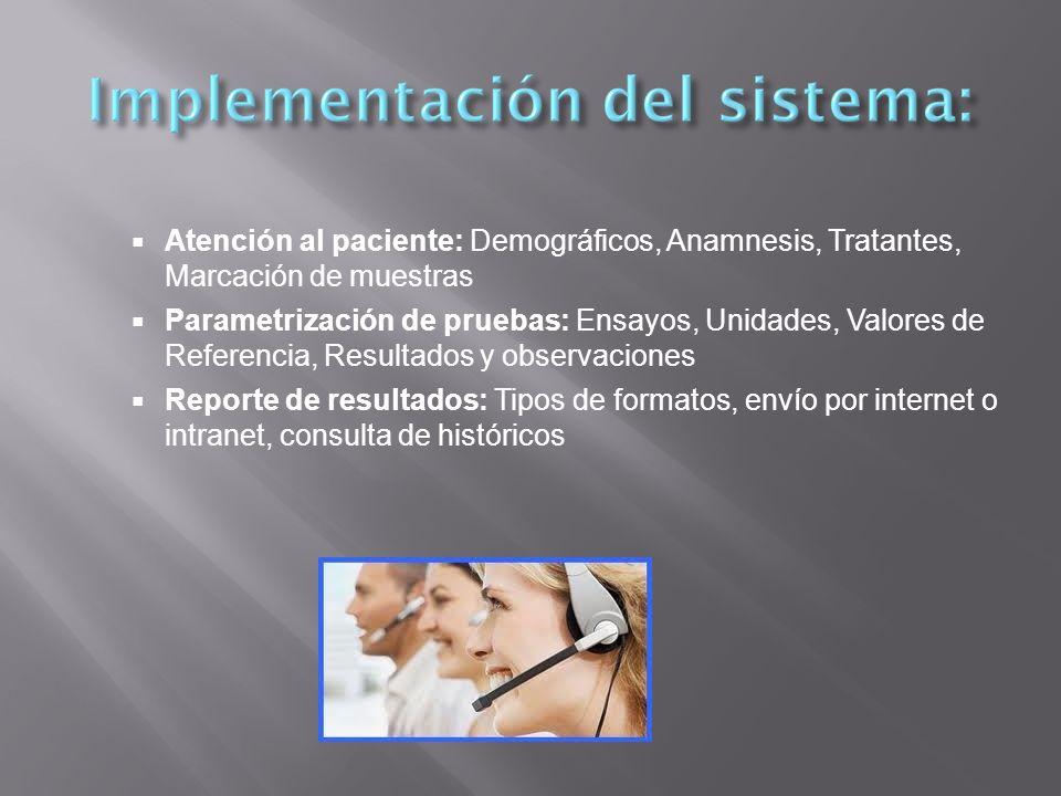 Atención al paciente: Demográficos, Anamnesis, Tratantes, Marcación de muestras