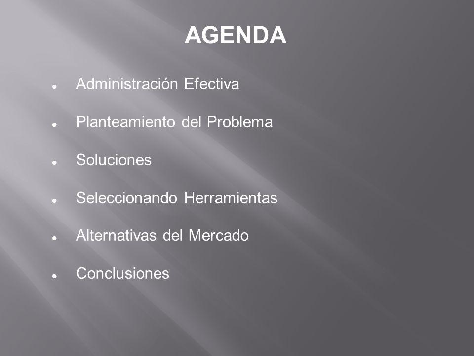 AGENDA Administración Efectiva Planteamiento del Problema Soluciones