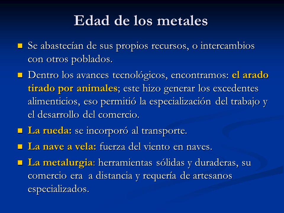 Edad de los metales Se abastecían de sus propios recursos, o intercambios con otros poblados.