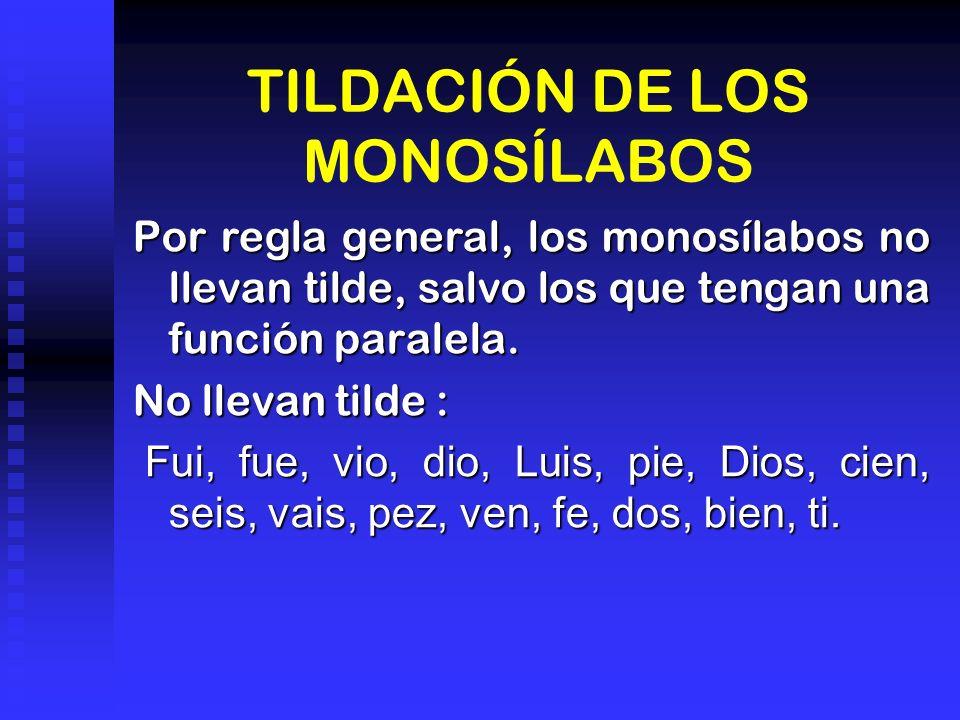TILDACIÓN DE LOS MONOSÍLABOS