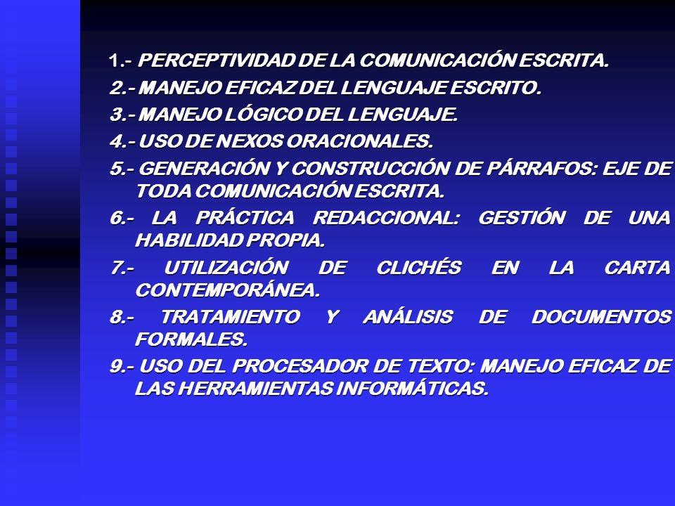 1.- PERCEPTIVIDAD DE LA COMUNICACIÓN ESCRITA.