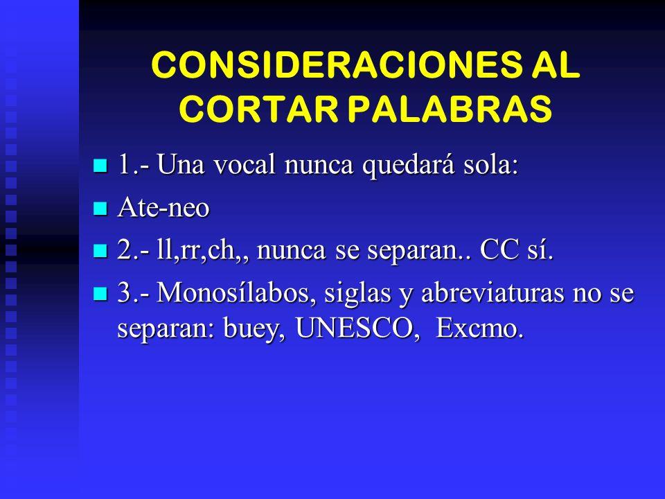 CONSIDERACIONES AL CORTAR PALABRAS