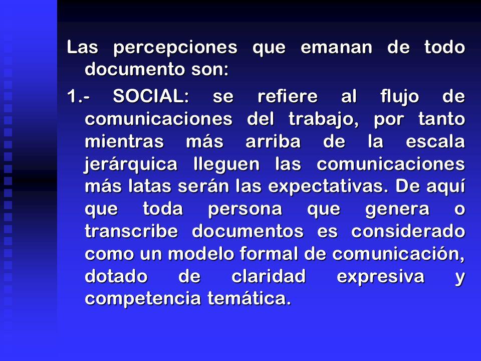 Las percepciones que emanan de todo documento son: