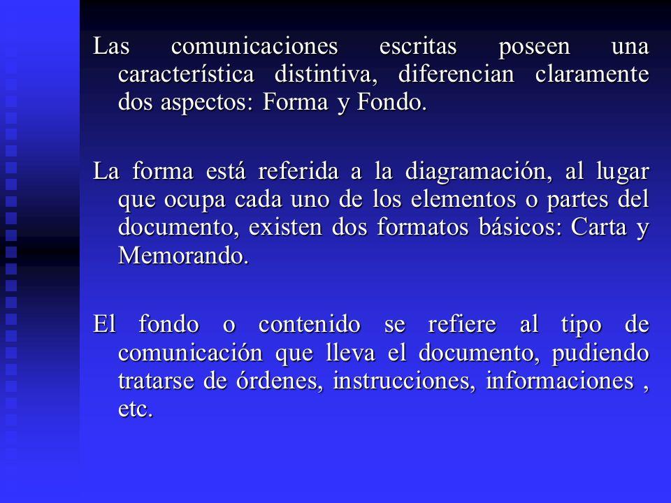 Las comunicaciones escritas poseen una característica distintiva, diferencian claramente dos aspectos: Forma y Fondo.