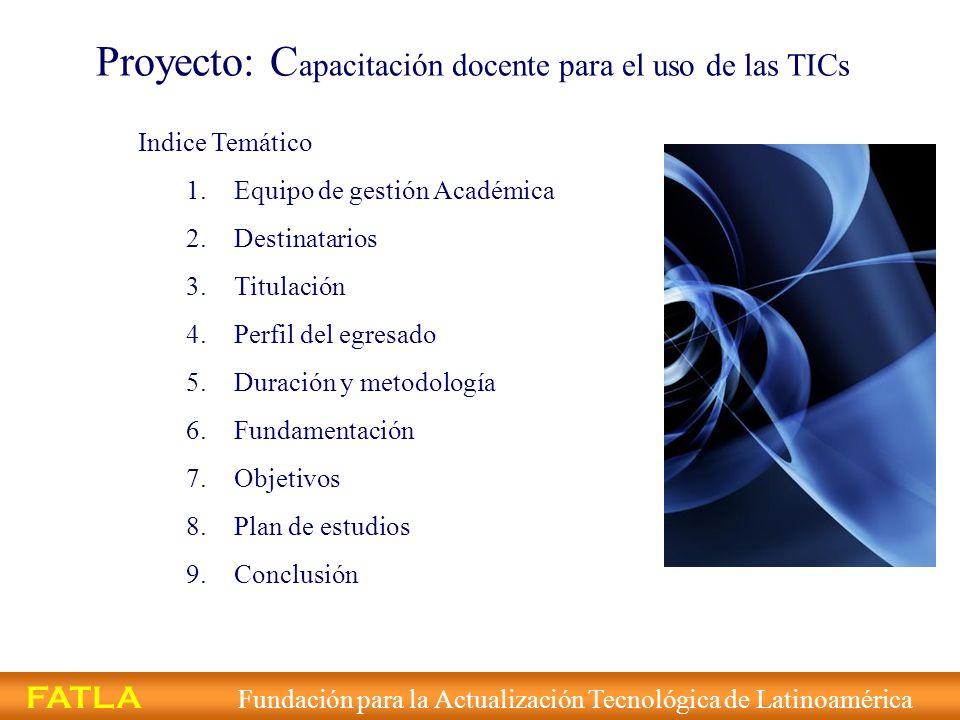 Proyecto: Capacitación docente para el uso de las TICs