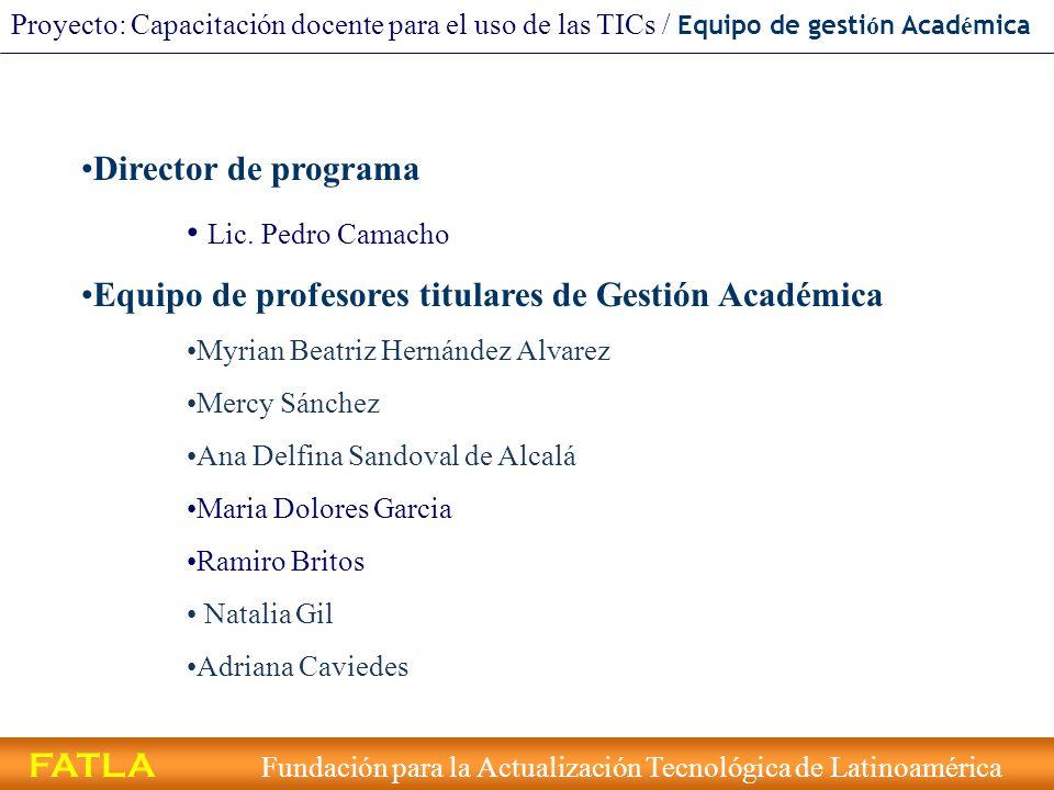 Equipo de profesores titulares de Gestión Académica