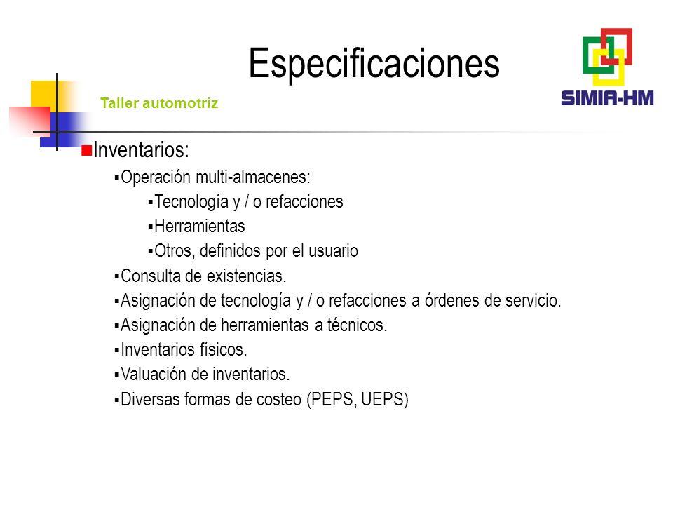 Especificaciones Inventarios: Operación multi-almacenes: