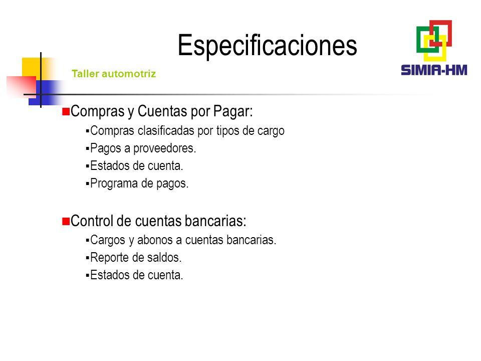 Especificaciones Compras y Cuentas por Pagar: