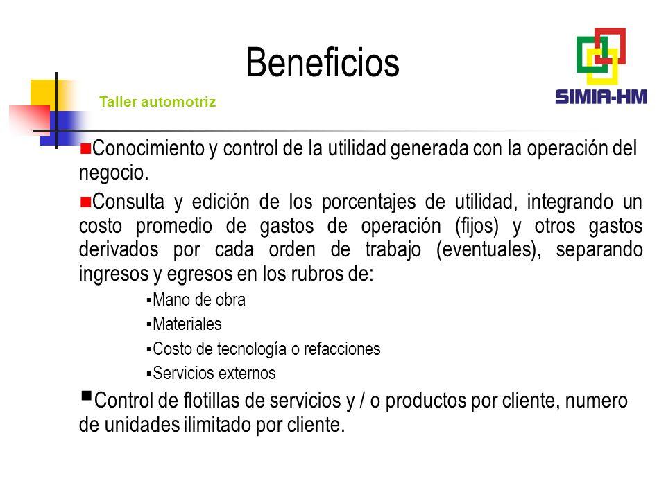 Beneficios Conocimiento y control de la utilidad generada con la operación del negocio.