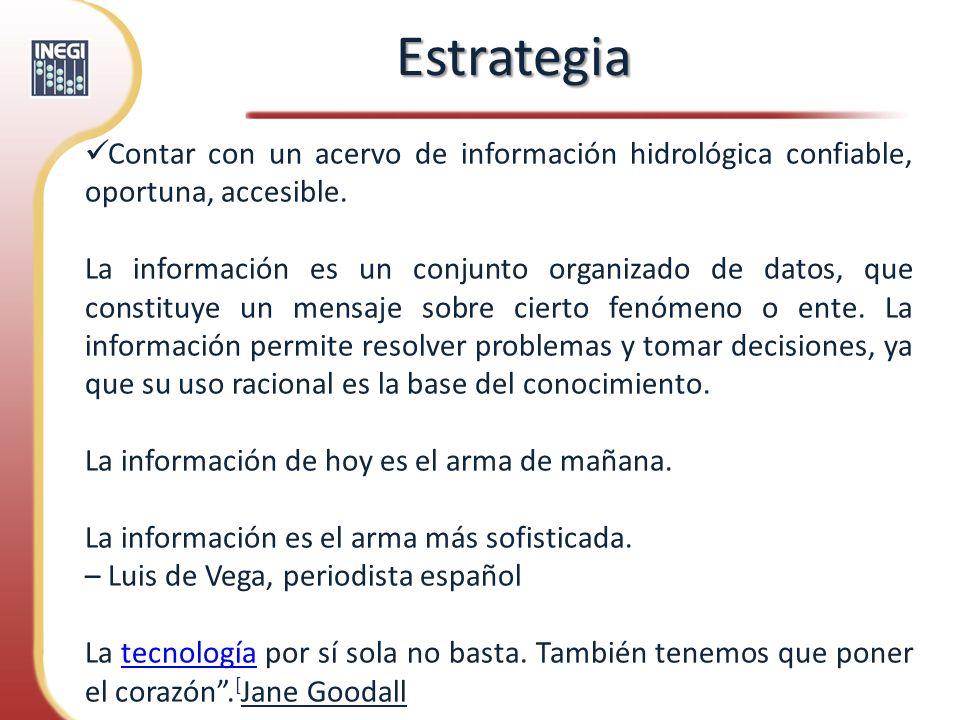EstrategiaContar con un acervo de información hidrológica confiable, oportuna, accesible.
