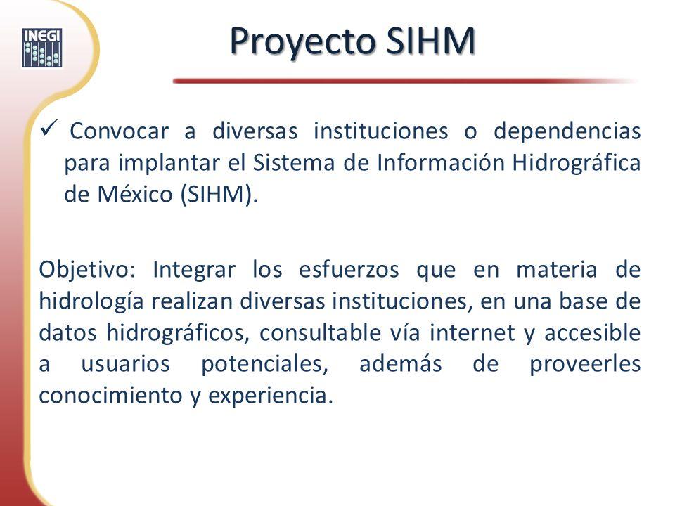 Proyecto SIHM Convocar a diversas instituciones o dependencias para implantar el Sistema de Información Hidrográfica de México (SIHM).
