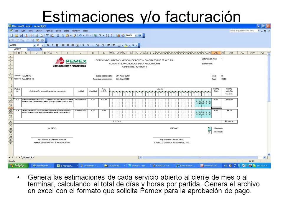 Estimaciones y/o facturación