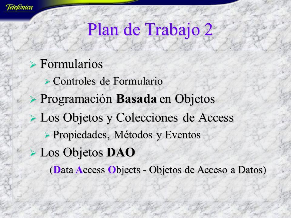 Plan de Trabajo 2 Formularios Programación Basada en Objetos
