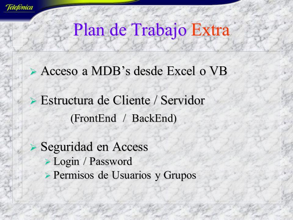 Plan de Trabajo Extra Acceso a MDB's desde Excel o VB