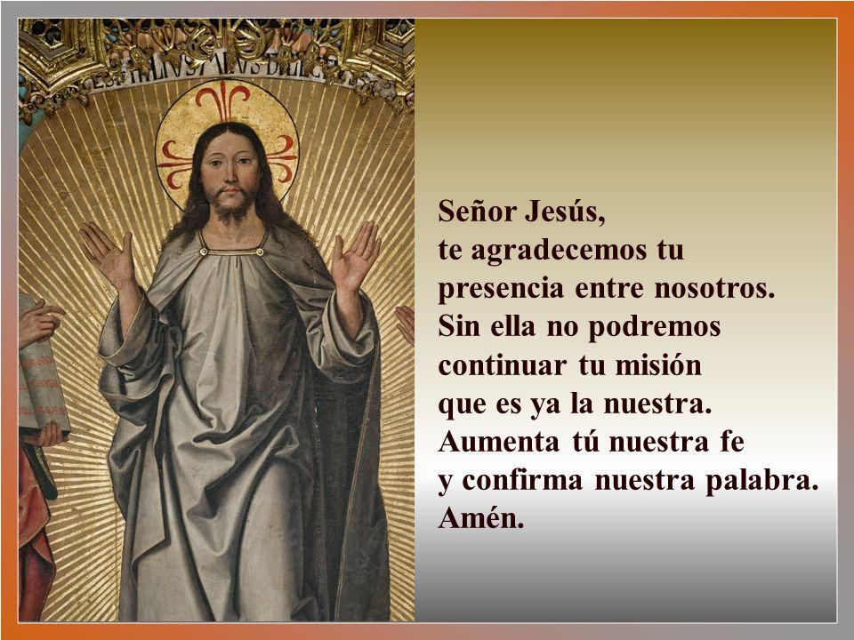 Señor Jesús, te agradecemos tu presencia entre nosotros. Sin ella no podremos continuar tu misión.