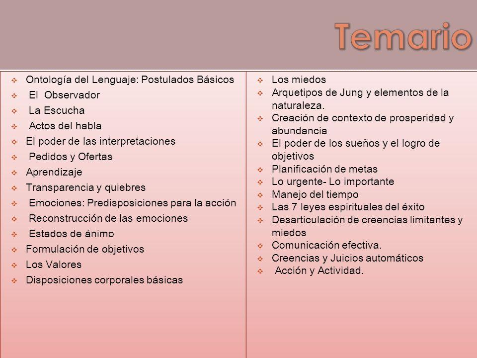 Temario Ontología del Lenguaje: Postulados Básicos El Observador