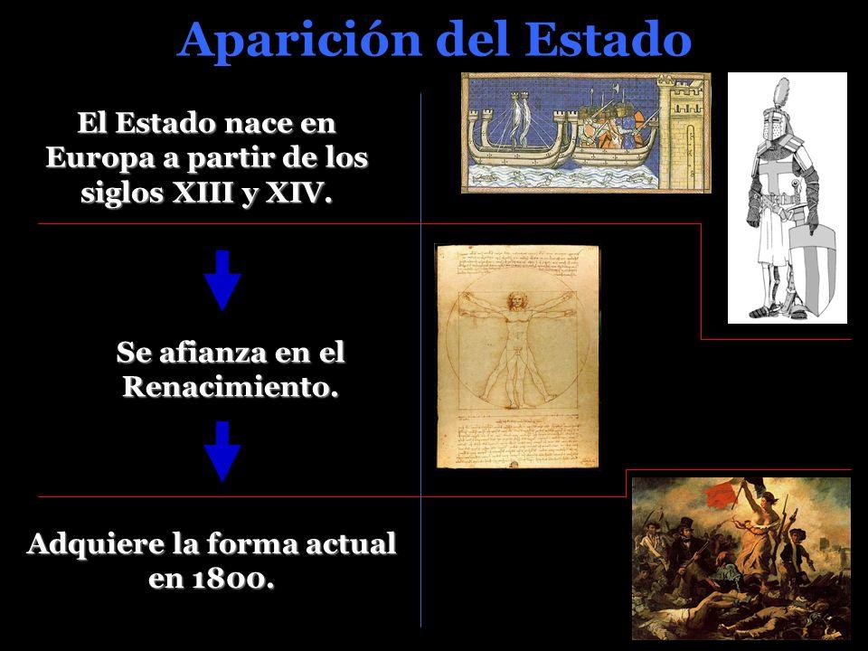 Aparición del Estado El Estado nace en Europa a partir de los siglos XIII y XIV. Se afianza en el Renacimiento.