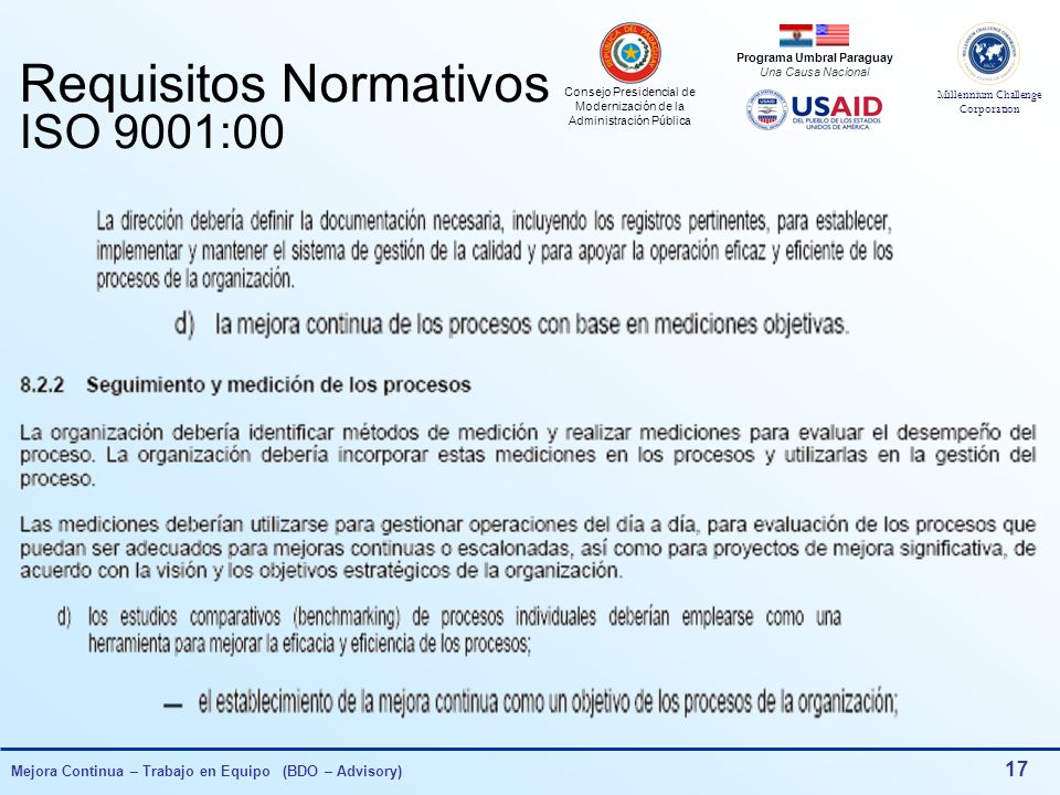 Requisitos Normativos ISO 9001:00