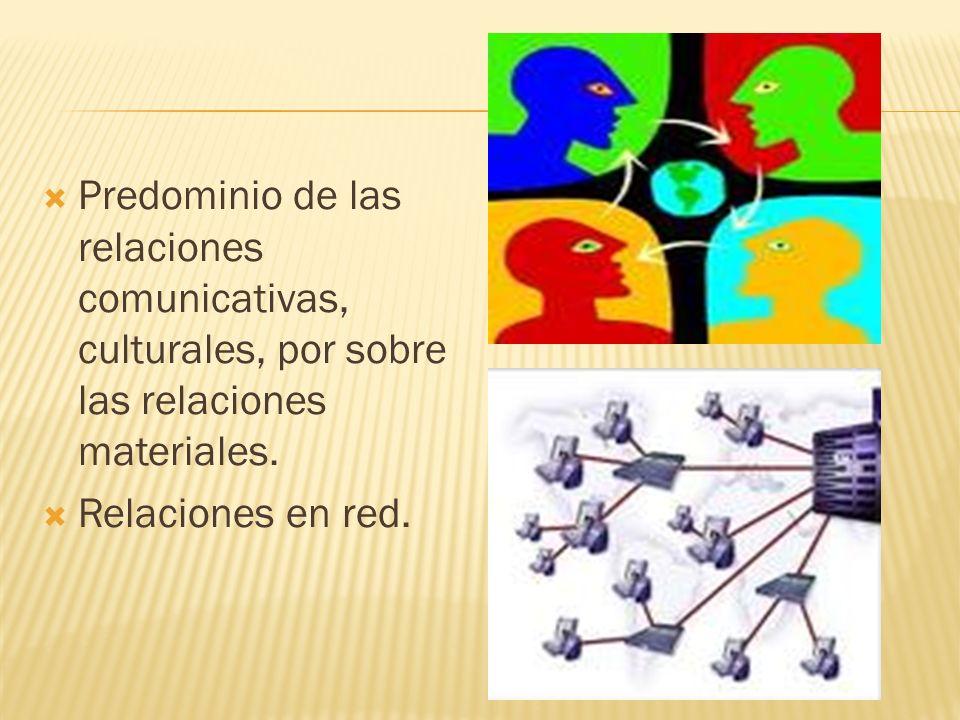 Predominio de las relaciones comunicativas, culturales, por sobre las relaciones materiales.