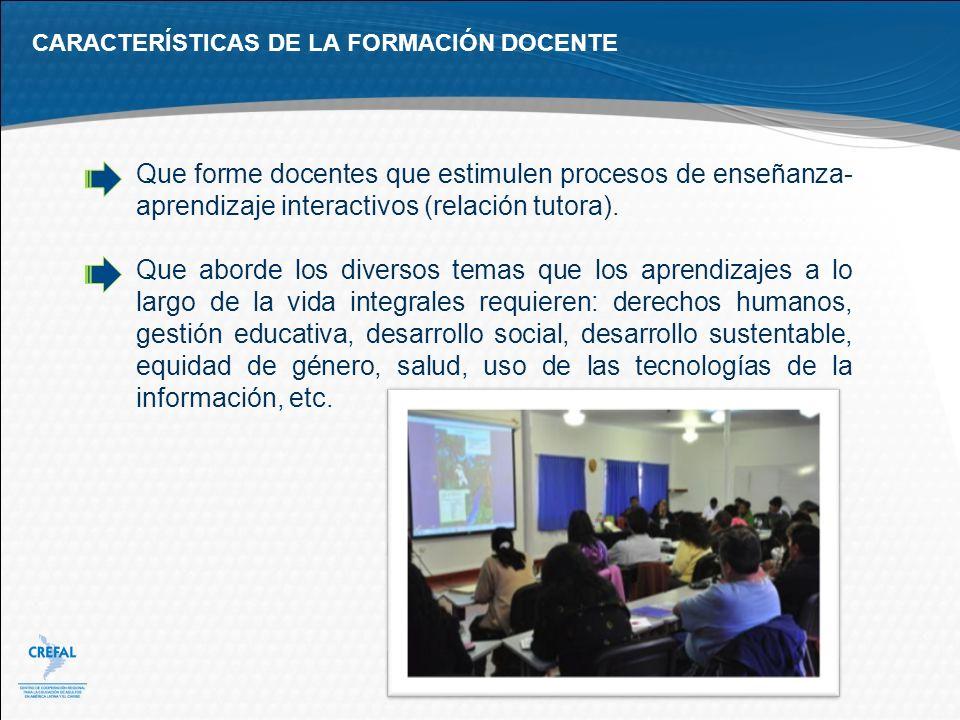 CARACTERÍSTICAS DE LA FORMACIÓN DOCENTE
