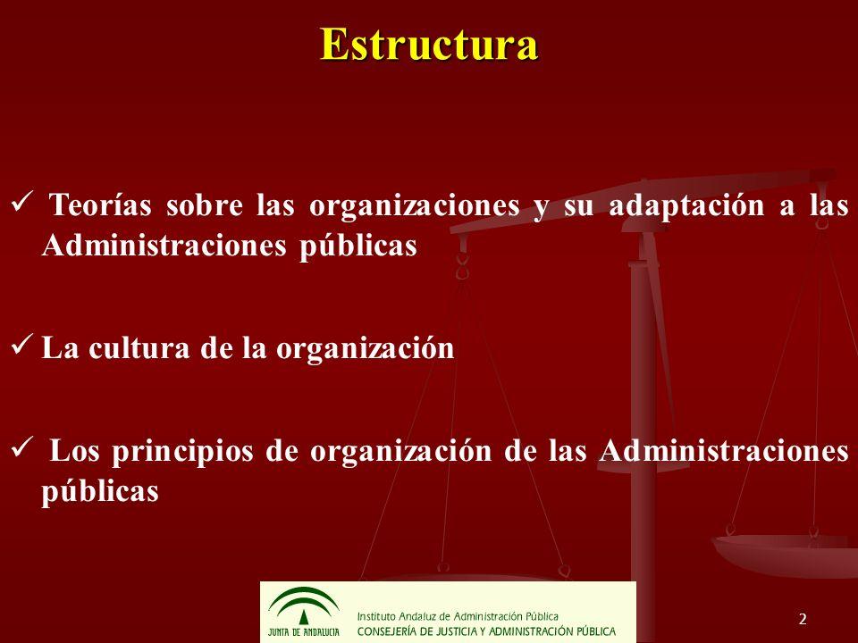 EstructuraTeorías sobre las organizaciones y su adaptación a las Administraciones públicas. La cultura de la organización.