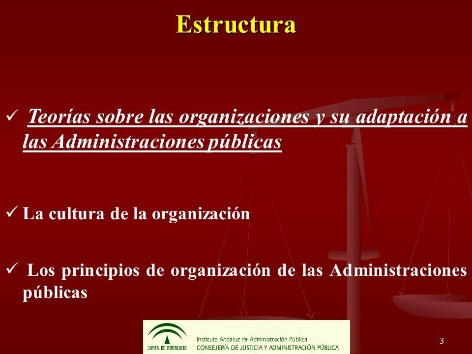 Estructura Teorías sobre las organizaciones y su adaptación a las Administraciones públicas. La cultura de la organización.