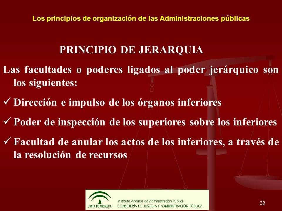 Los principios de organización de las Administraciones públicas