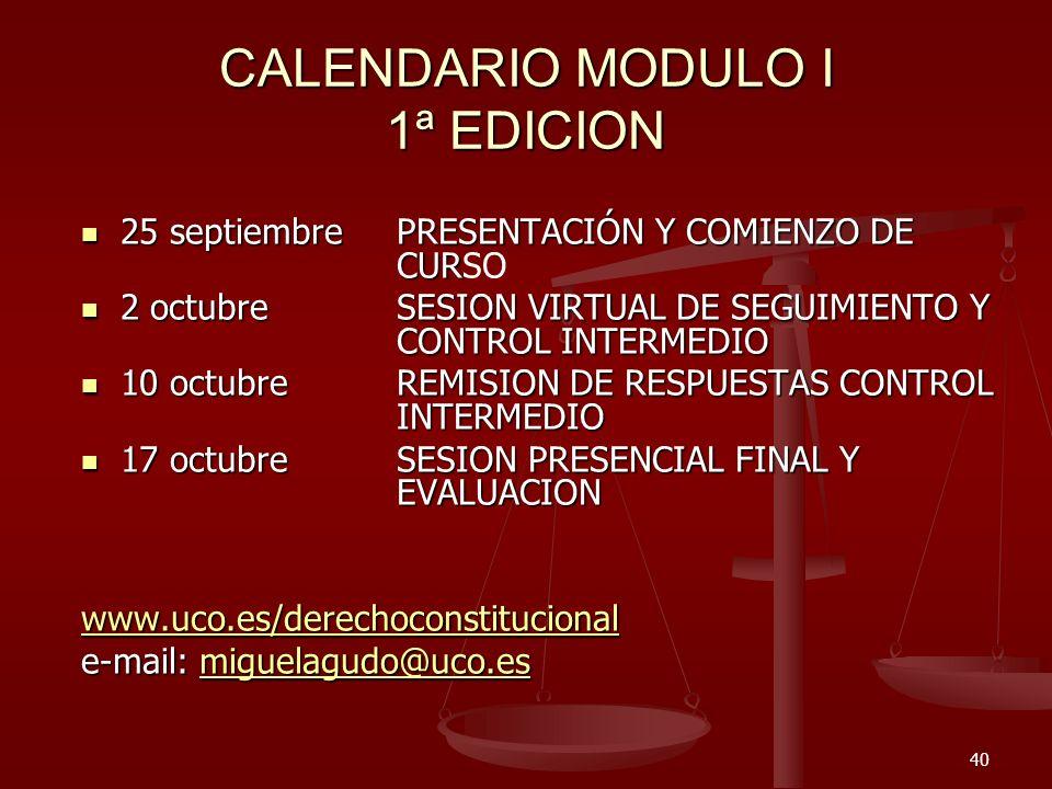 CALENDARIO MODULO I 1ª EDICION