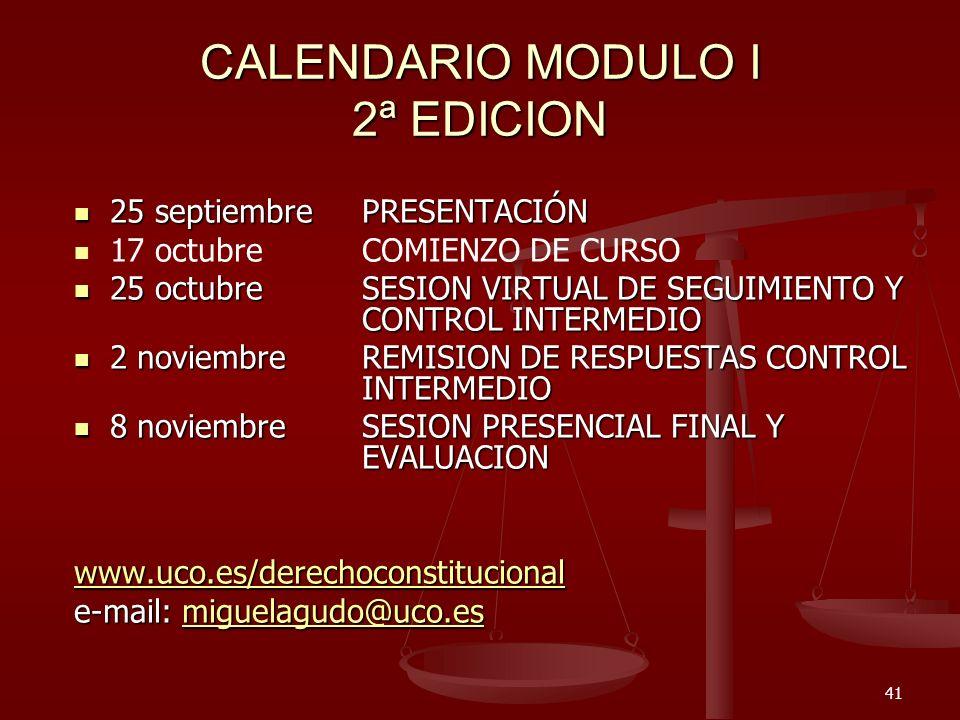CALENDARIO MODULO I 2ª EDICION