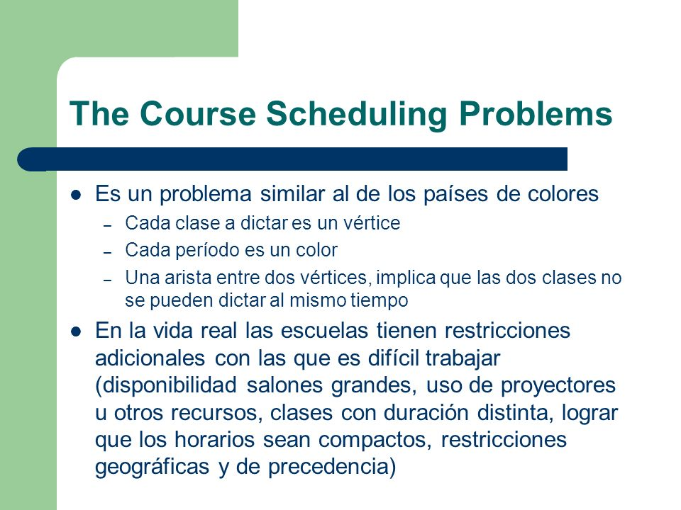The Course Scheduling Problems