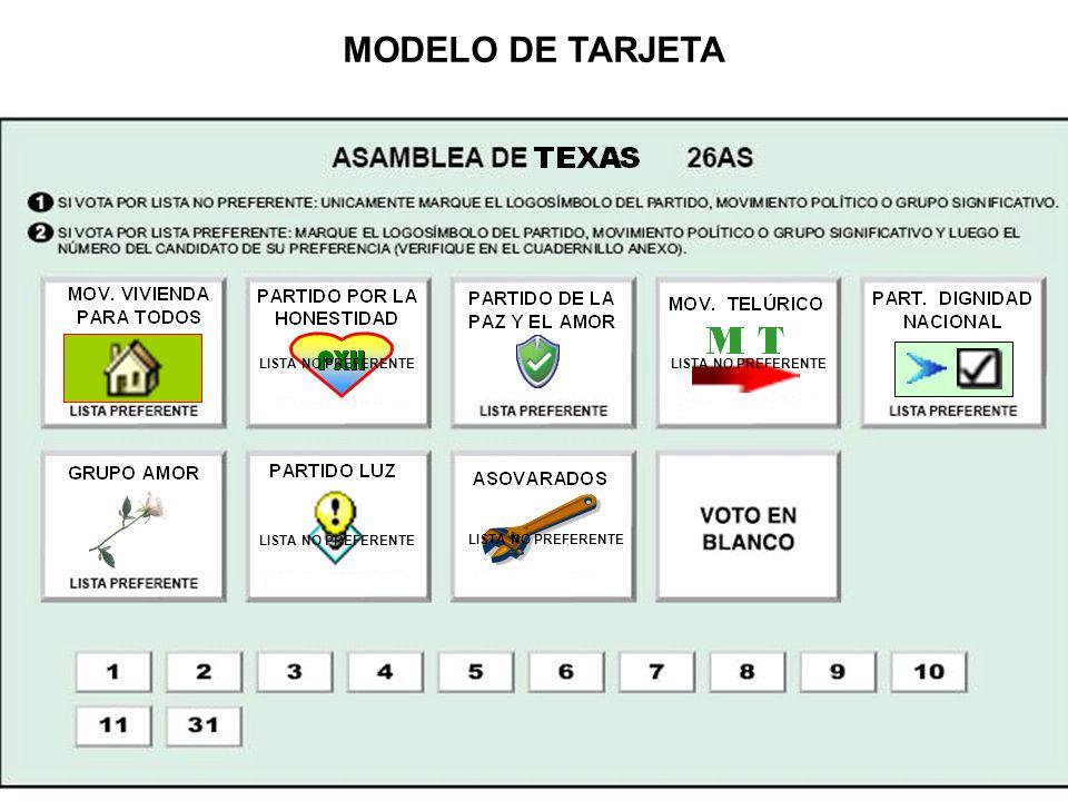 MODELO DE TARJETA LISTA NO PREFERENTE LISTA NO PREFERENTE