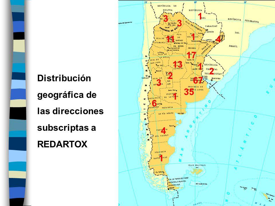 1 2 3 11 4 6 13 17 35 67 1 Distribución geográfica de las direcciones subscriptas a REDARTOX