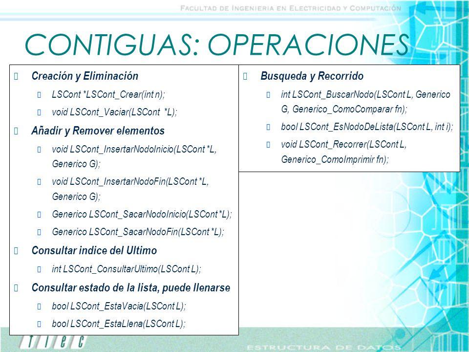 CONTIGUAS: OPERACIONES