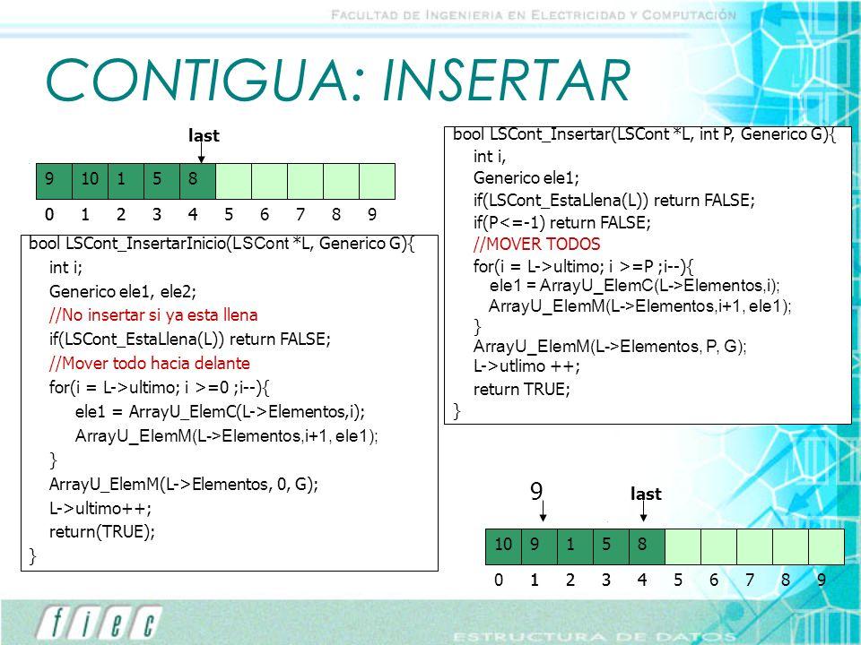 CONTIGUA: INSERTAR 9 9 last last