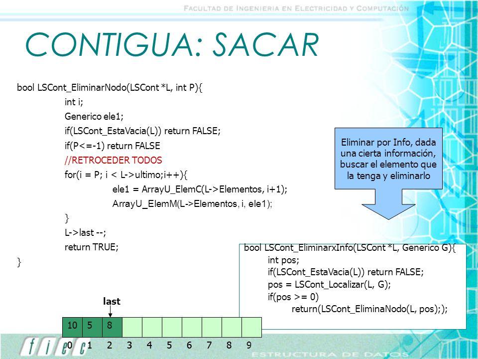 CONTIGUA: SACAR bool LSCont_EliminarNodo(LSCont *L, int P){ int i;