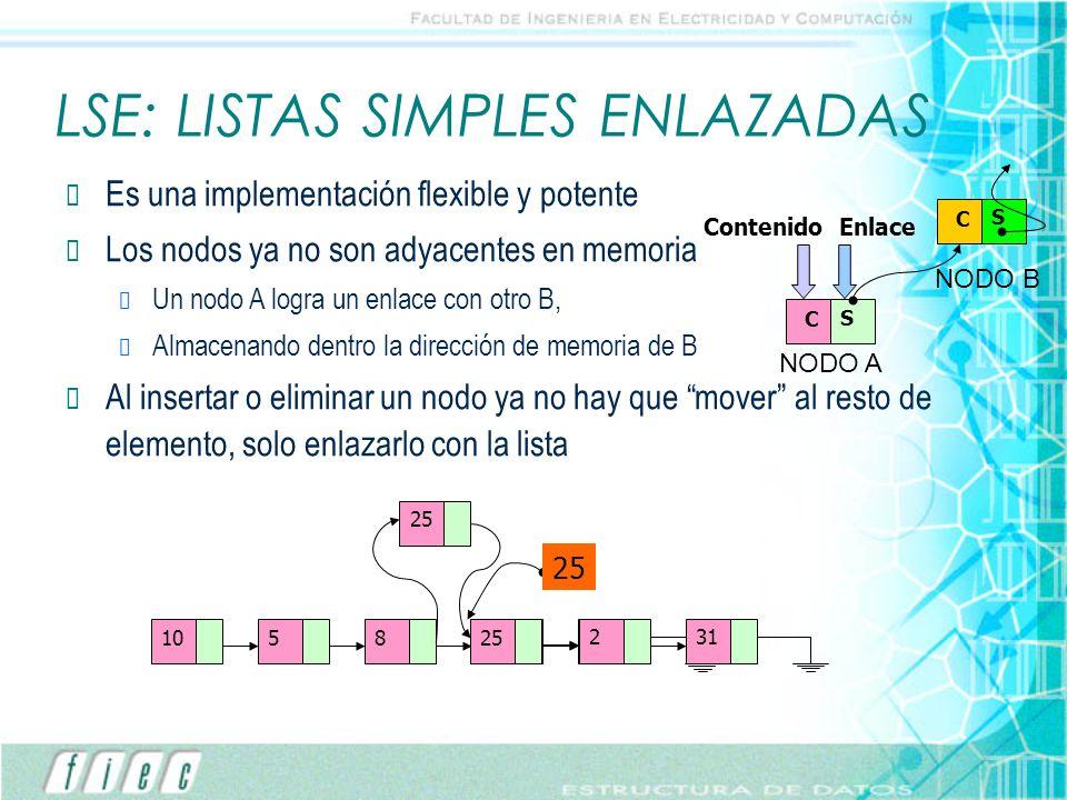 LSE: LISTAS SIMPLES ENLAZADAS
