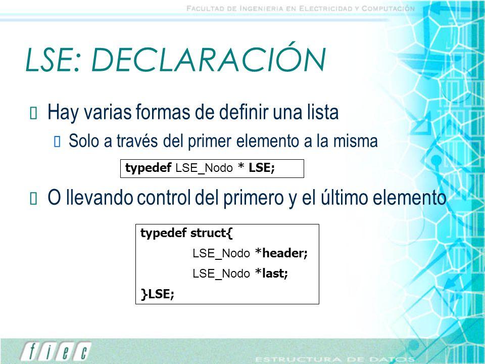 LSE: DECLARACIÓN Hay varias formas de definir una lista