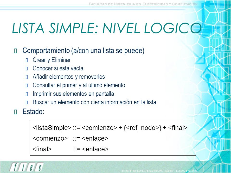 LISTA SIMPLE: NIVEL LOGICO