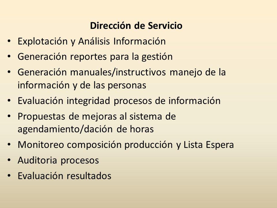 Dirección de Servicio Explotación y Análisis Información. Generación reportes para la gestión.