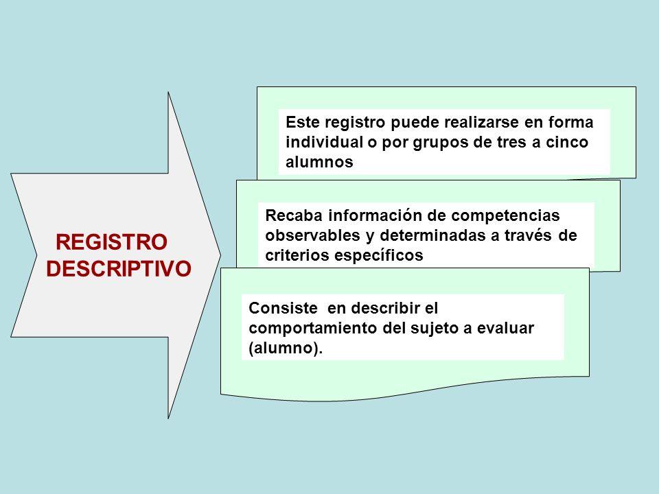 Este registro puede realizarse en forma individual o por grupos de tres a cinco alumnos