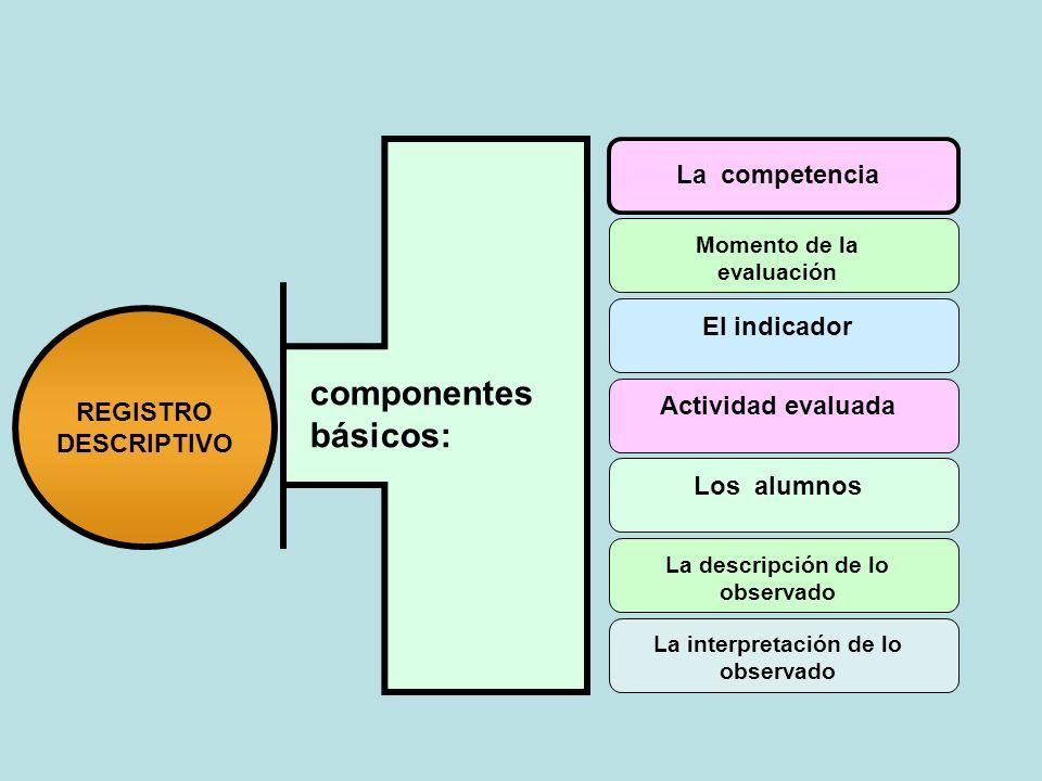 componentes básicos: La competencia El indicador REGISTRO DESCRIPTIVO