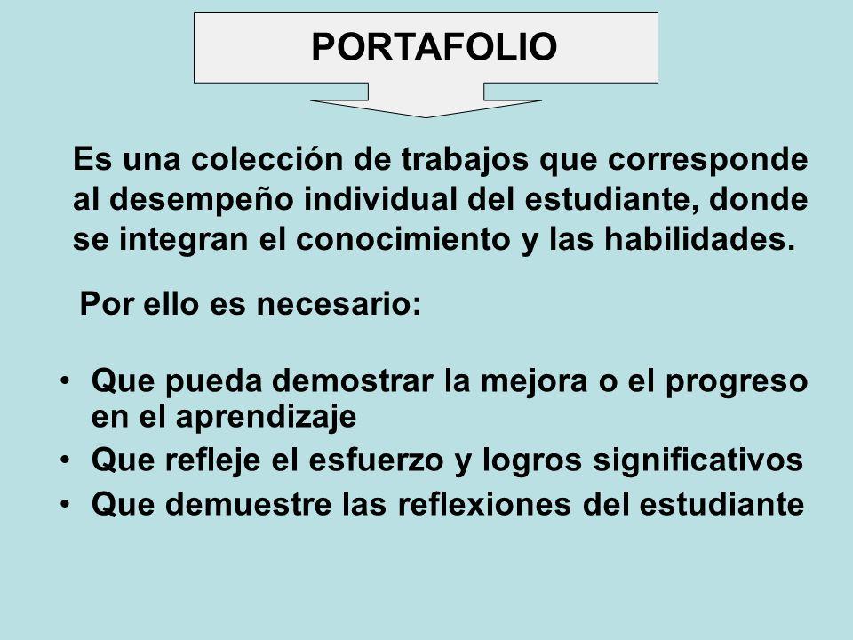 PORTAFOLIOEs una colección de trabajos que corresponde al desempeño individual del estudiante, donde se integran el conocimiento y las habilidades.
