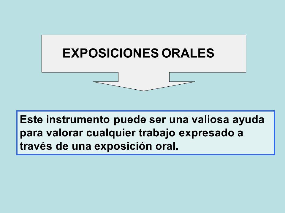 EXPOSICIONES ORALES Este instrumento puede ser una valiosa ayuda para valorar cualquier trabajo expresado a través de una exposición oral.