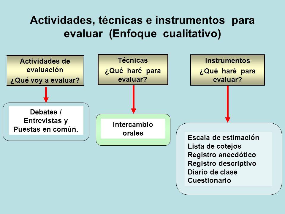 Actividades de evaluación Debates / Entrevistas y Puestas en común.
