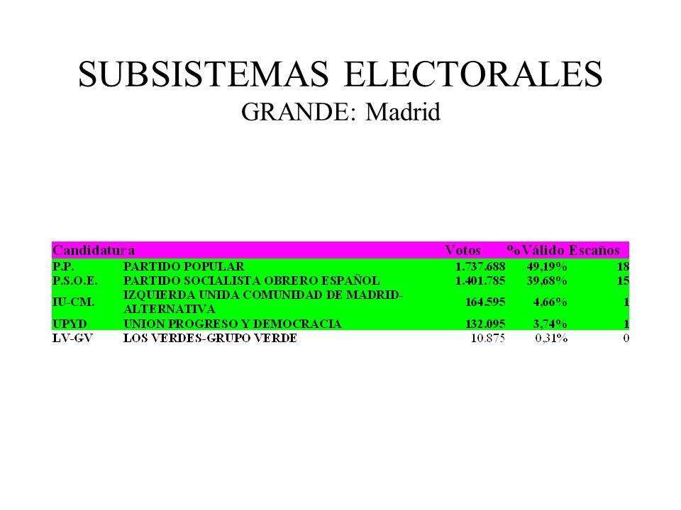 SUBSISTEMAS ELECTORALES GRANDE: Madrid