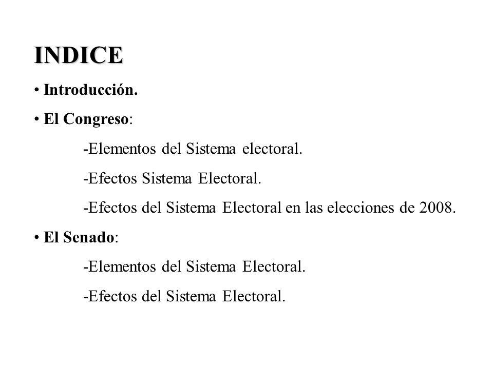INDICE Introducción. El Congreso: -Elementos del Sistema electoral.