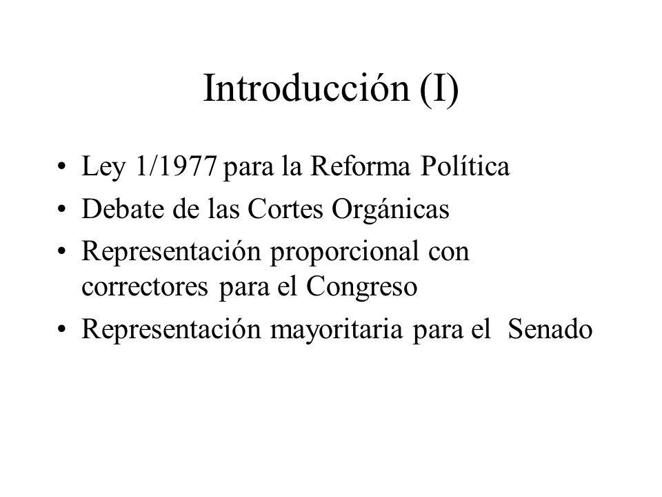 Introducción (I) Ley 1/1977 para la Reforma Política