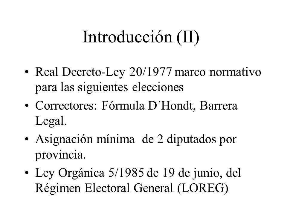 Introducción (II) Real Decreto-Ley 20/1977 marco normativo para las siguientes elecciones. Correctores: Fórmula D´Hondt, Barrera Legal.